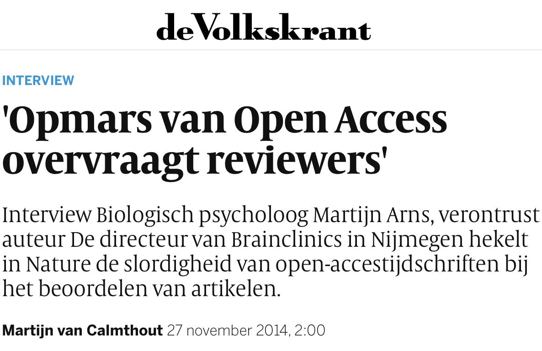 volkskrant open access kritiek